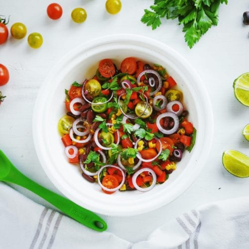 healthy side dish mexican corn cilantro onion cookout lime black beans red bell peppers gluten-free dairy-free paleo