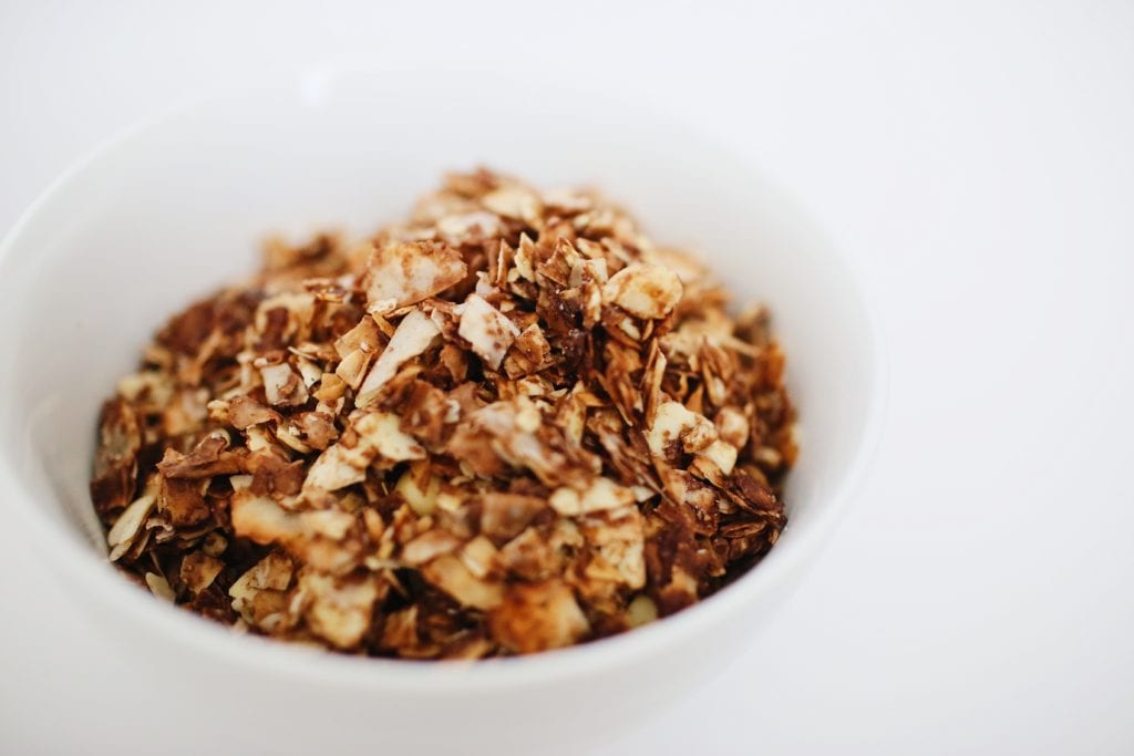 Super Easy Dark Chocolate Coconut Granola Clusters