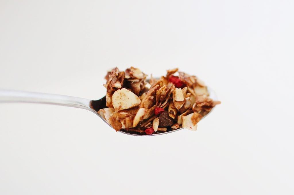 healthy dark chocolate coconut granola with nuts almonds pecans