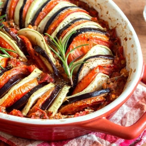 zucchini summer squash eggplant tomato French stew in pot dinner lunch