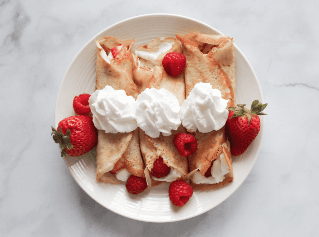Insanely Delicious Berries & Cream Whole Wheat Crepes