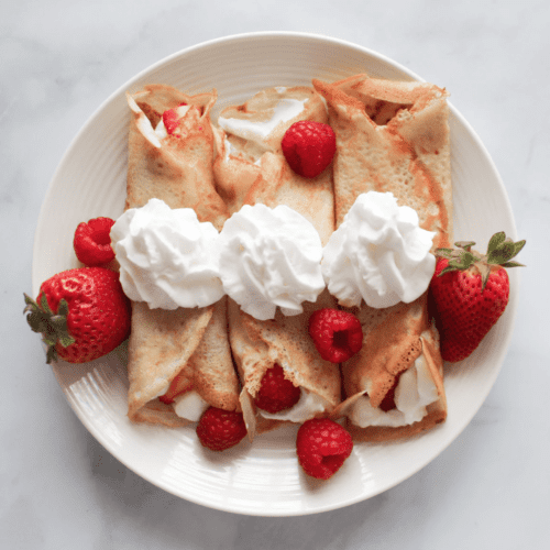 healthy breakfast whole wheat flour fresh strawberries whipped cream