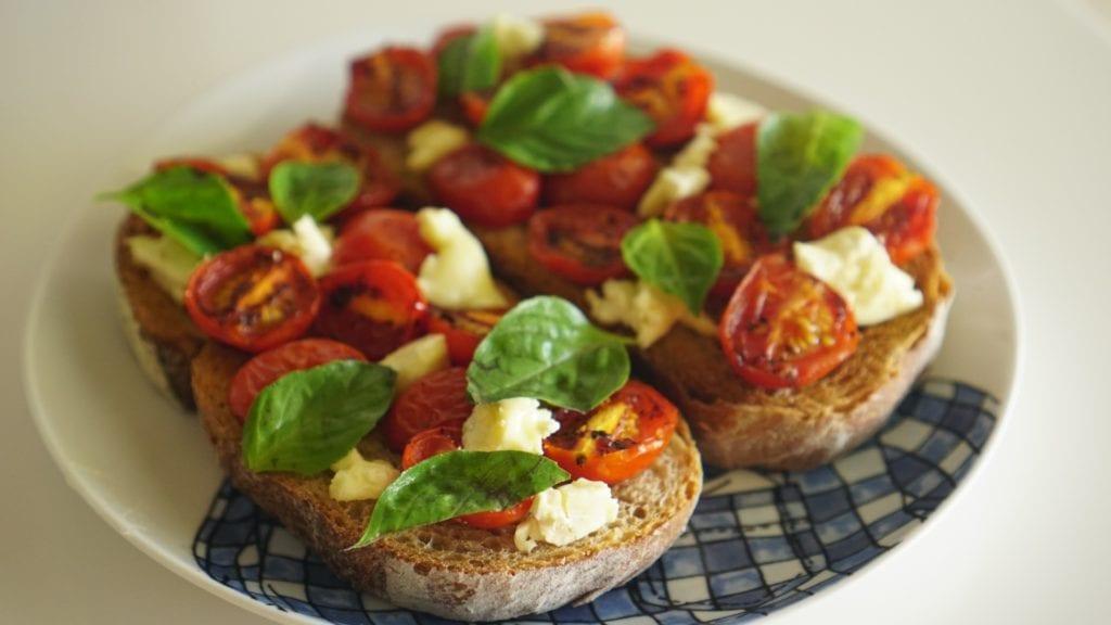 Easy Caprese Toast with Pan-Roasted Tomatoes, Basil, and Fresh Mozzarella (V)