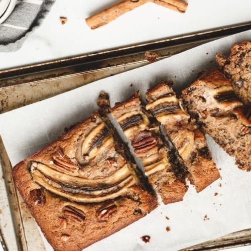 fall recipes gluten-free dairy-free vegetarian banana bread walnuts dates chopped baking