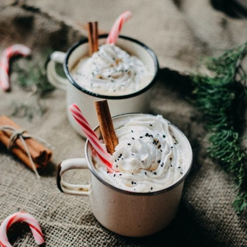 hot cocoa chocolate drinking winter warm drink peppermint candy cane mug whipped cream