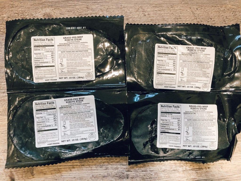 butcherbox review packaging of grass-fed beef ribeye steak