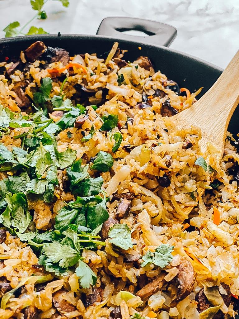 Mushroom Rice Pilaf with Roasted Hatch Chiles (GF, V)