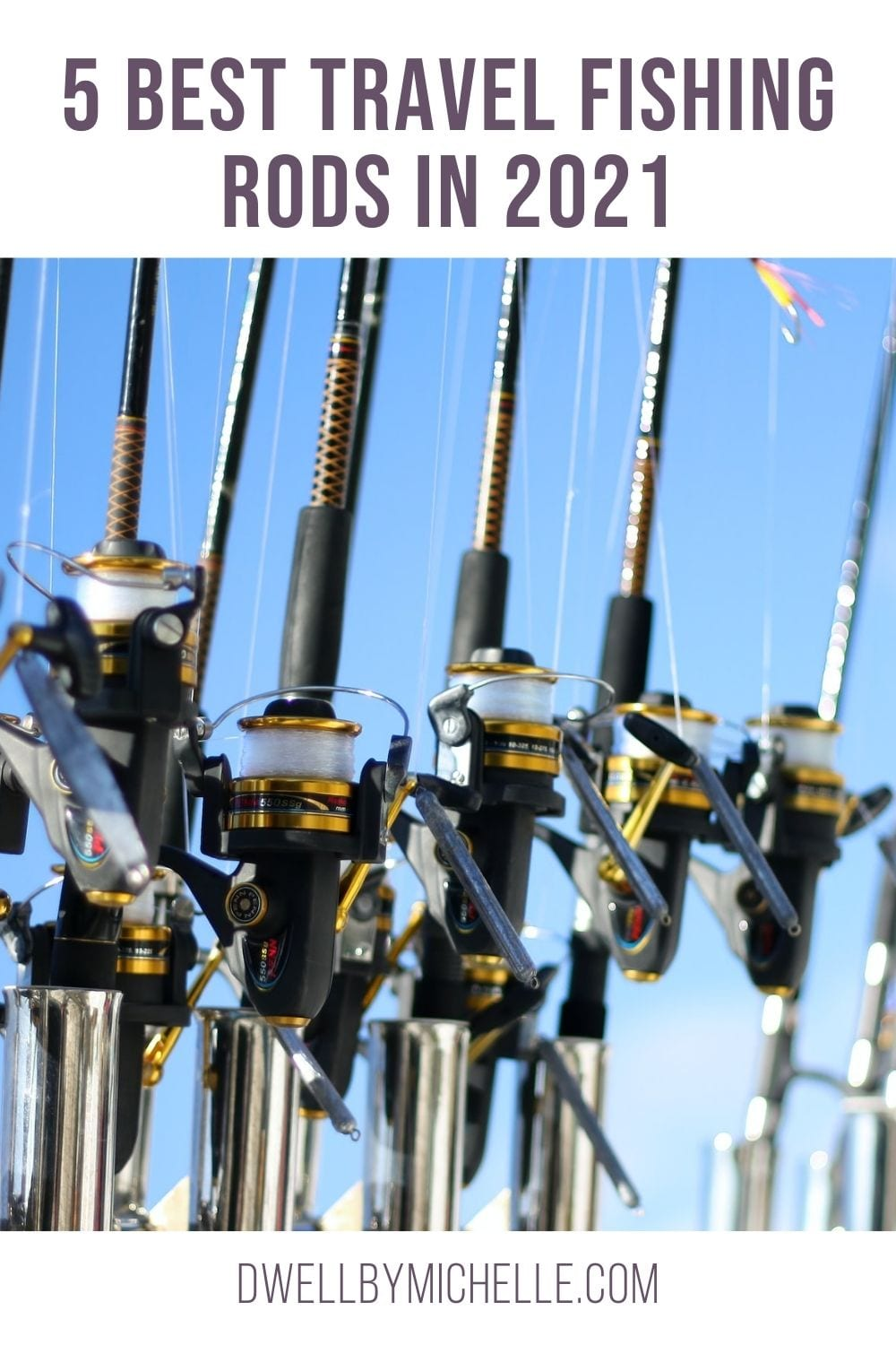 best travel fishing rod, line of rods on a boat fishing trip