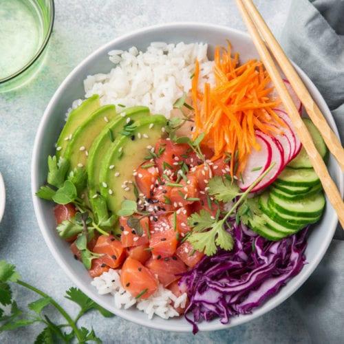 salmon belly recipe cucumber avocado radish radish carrots