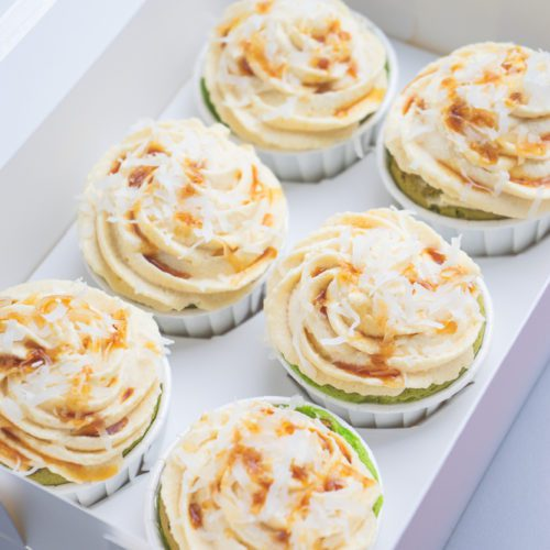 Delicious Pandan Cupcakes Muffins with Vanilla Frosting, Palm Sugar, Coconut Topping Gula Melaka in a Box
