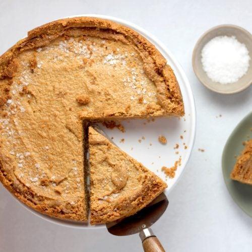 butterscotch pie slice with crust
