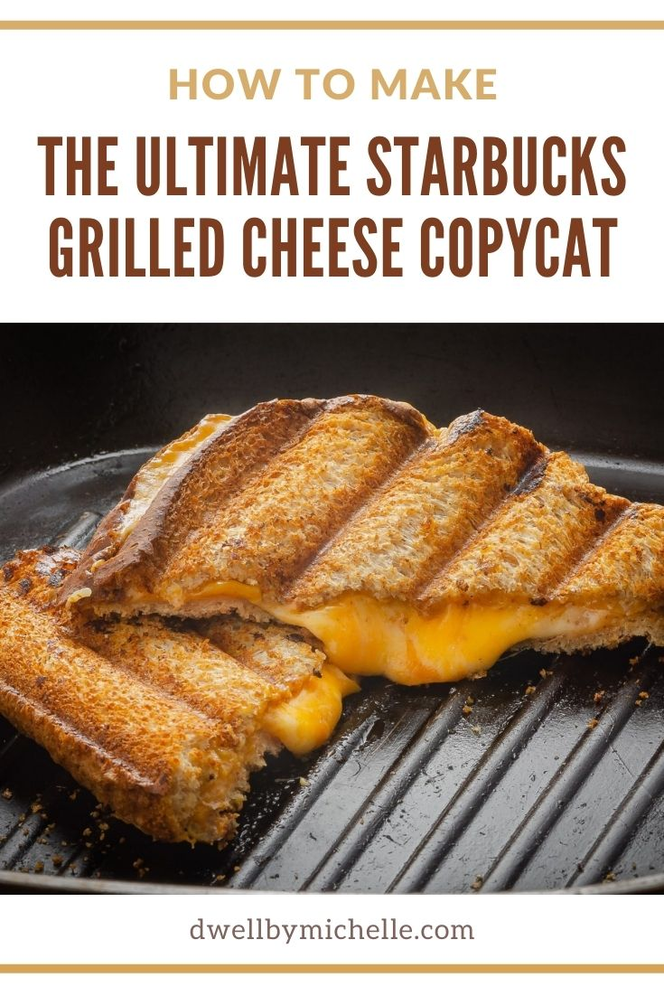 starbucks grilled cheese on skillet with parmesan butter, white cheddar and mozzarella cheese
