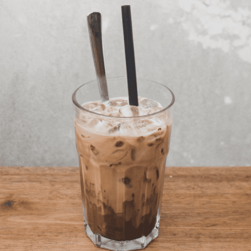 protein coffee drink with chocolate protein powder